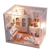 2017 Nuova Casa di Bambola Diy Light House Giocattolo Fiori E Costruzione Assemblaggio Modello Della Bambola Piccola Villa Regalo Di Compleanno Colore Casuale