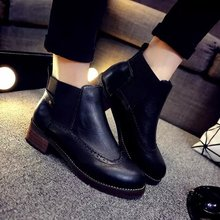 botines mujer 2015 spring autumn ankle boots Thick heel flat Martin boots flat heel bare boots short tube round women's boots