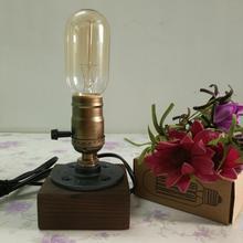 Bar Table Light Desk wooden Lamps Loft Retro Coffee Shop Lamp Wood Vintage  Dimmable