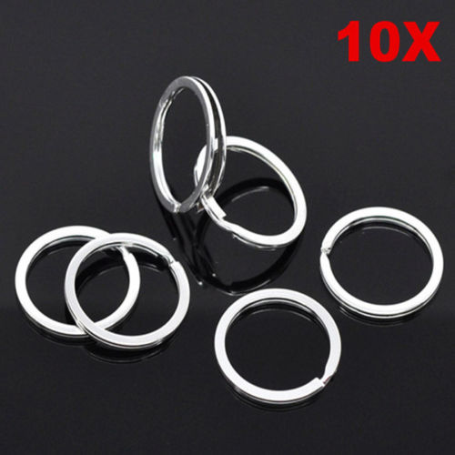 10pcs star key ring silver Split Key Ring Charms Connector Keychain Rings