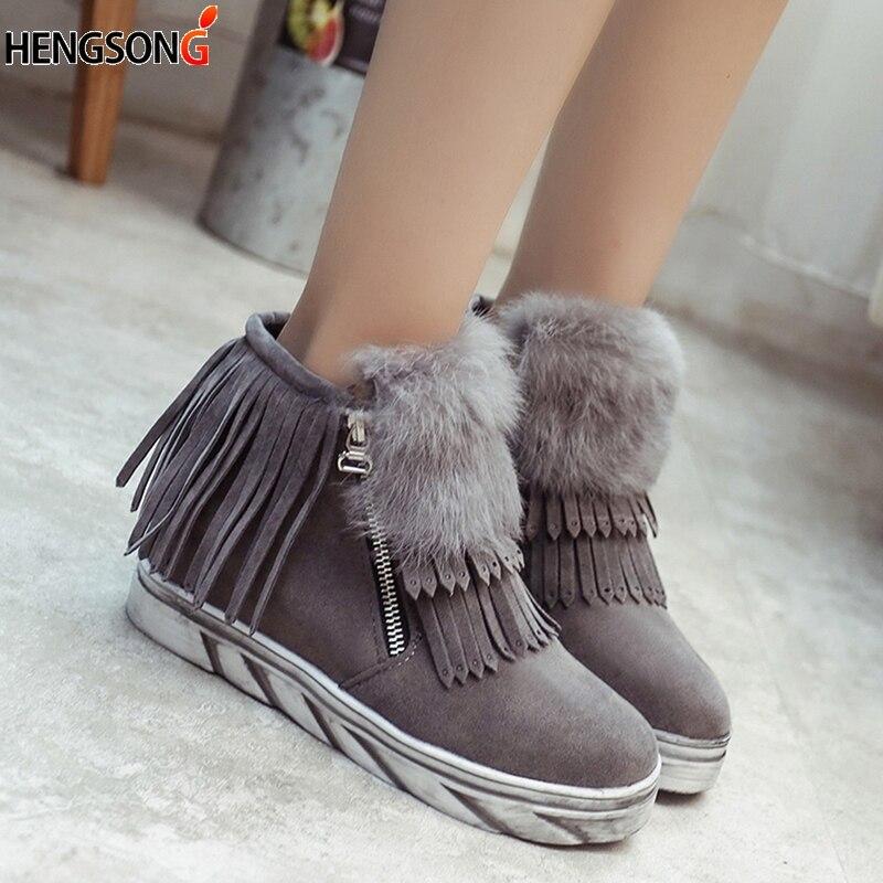 100% QualitäT Frauen Stiefel 2017 Winter Schuhe Wohnungen Mit Erhöhte Plattform Fringe Ankle Boot Pelz Warm Plüsch Stiefel Frau Martin Stiefel Botas