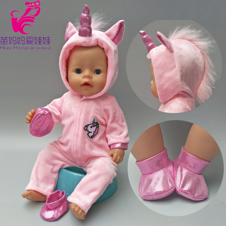 """Doll clothes for 43cm Baby doll coat unicorn hoodie set 17"""" reborn baby doll Christmas clothes Unicornio outfit for doll"""