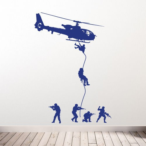 Free Shipping Helicopter Wall Decal Military Soldiers Men Swat Drop Children Boys Bedroom Decoration Vinyl Art Sticker Y 215 in Wall Stickers from Home Garden