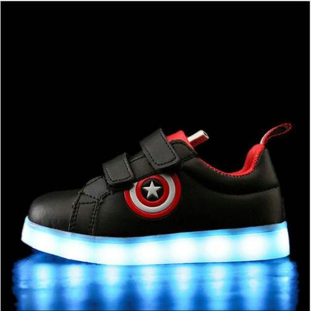 numerosos en variedad diseño profesional disponible Capitán América niños zapatos luz Led zapatillas luminosas niñas carga USB  deporte Casual para brillantes
