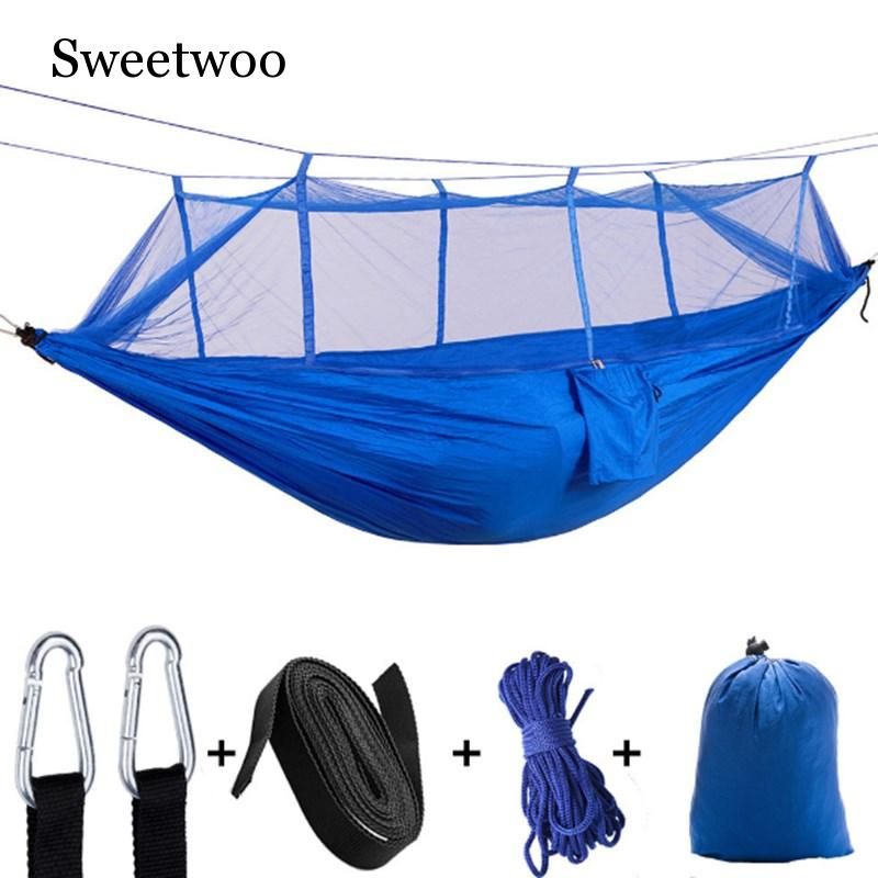 Outdoor Parachute Cloth Hammock With Mosquito Net Ultra Light Nylon Double Army Green Camping Aerial Tent Creative Hammock in Tents from Sports Entertainment