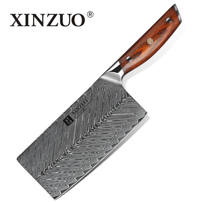 """XINZUO 7 """"cali krojenie mięsa nóż damaszku stali noże kuchenne japoński VG10 stali nierdzewnej mięsa kucharz tasak noże z drzewa różanego uchwyt w Noże kuchenne od Dom i ogród na  Grupa 1"""