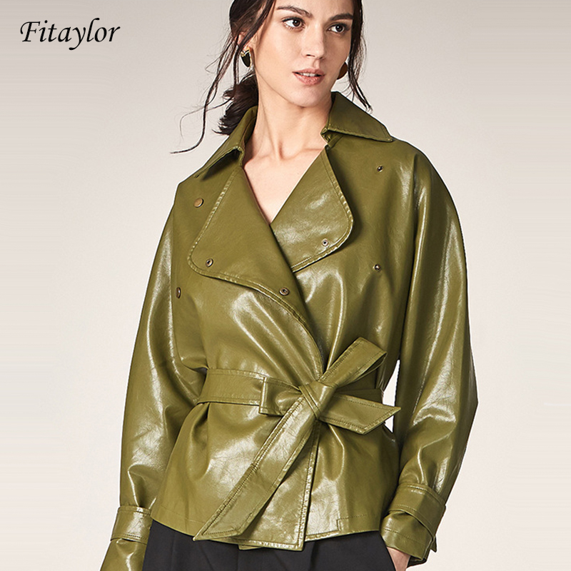 Fitaylor 2019 New Autumn Women Loose Washed Pu   Leather   Jacket Fashion Sashes Bright Colors Coats Ladies Basic Jackets Outwear