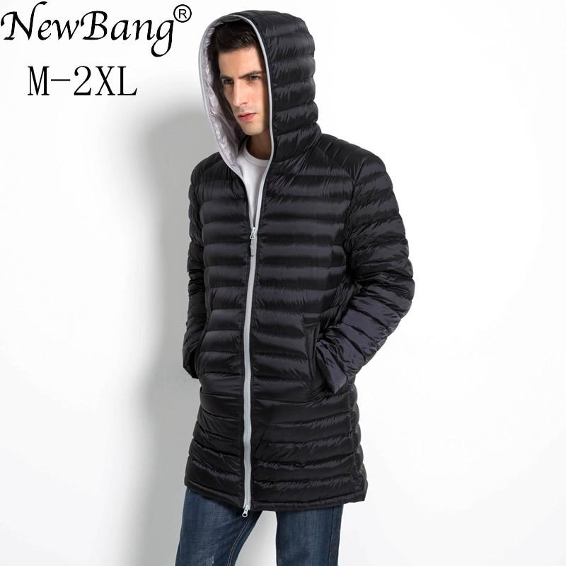 NewBang Brand Long Duck Down Jacket Men Spring Autumn Hooded Waterproof  Mens Down Warm Lightweigt Winter Coat Puffer Jacket