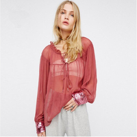 FFTAIQI new fashion spring summer fresh sexy thin translucent chiffon woman blouse classic Ruffles loose all match women shirts