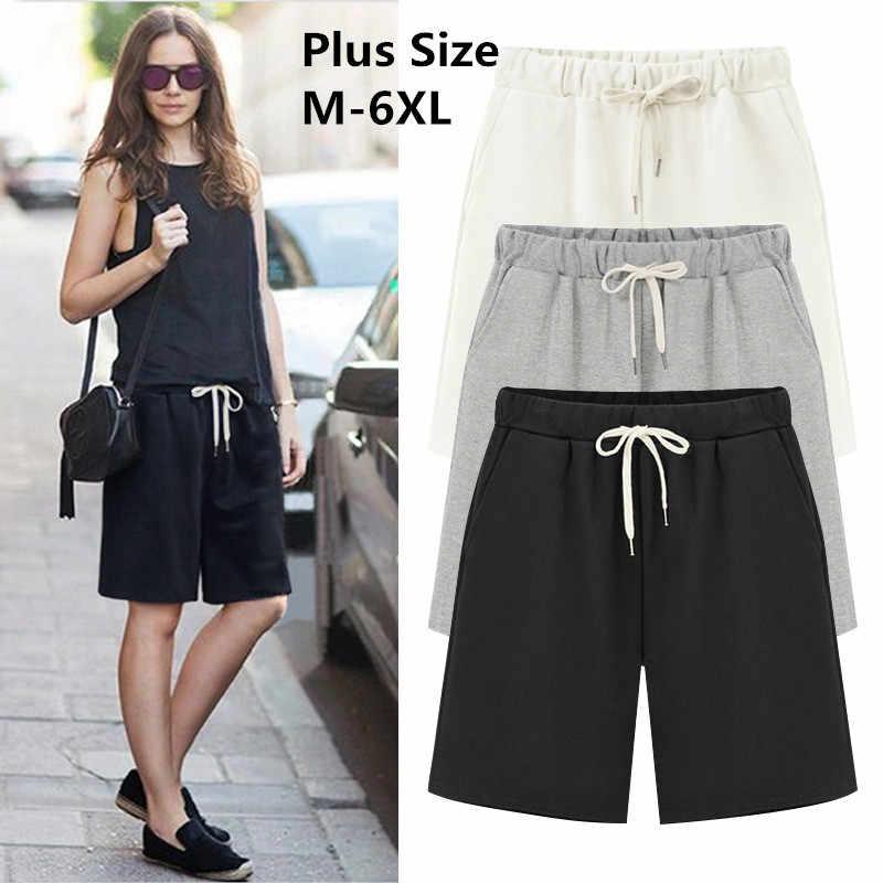 843f1d1a 2019 Large Size Summer Cotton Casual women shorts Plus Size Loose Ladies  shorts Female Solid Color short pant