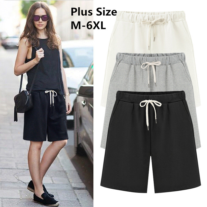 2019 Large Size Summer Cotton Casual women   shorts   Plus Size Loose Ladies   shorts   Female Solid Color   short   pant