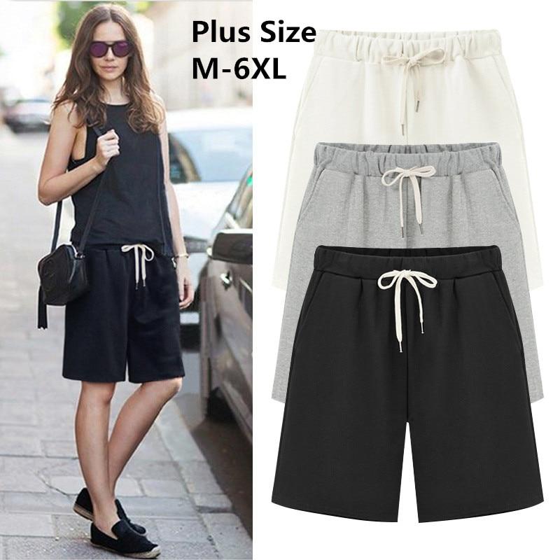 2019 Large Size Summer Cotton Casual women   shorts   Plus Size Loose Ladies   shorts   Female Solid Color   short   pant