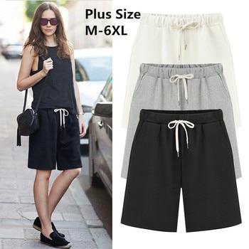 a21bf83fb6 2019 talla grande de algodón de verano Casual mujeres pantalones cortos  Plus tamaño suelto damas pantalones cortos de mujer de Color sólido  pantalón corto