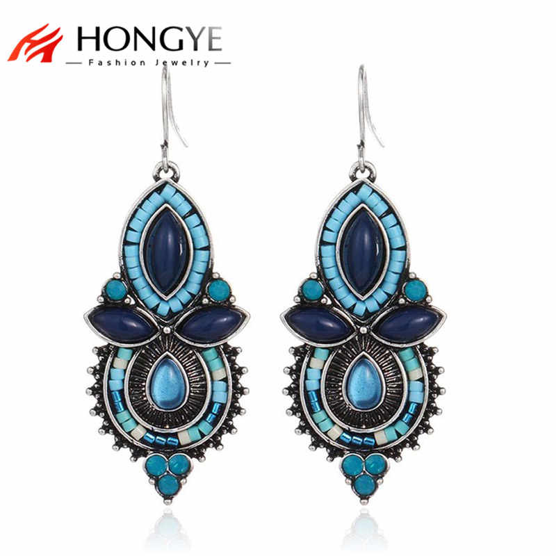 Bohemia Women Earrings Brincos 2019 Long Drop Earrings for women Ethnic Fashion Jewelry Bisuteria Blue black red earrings