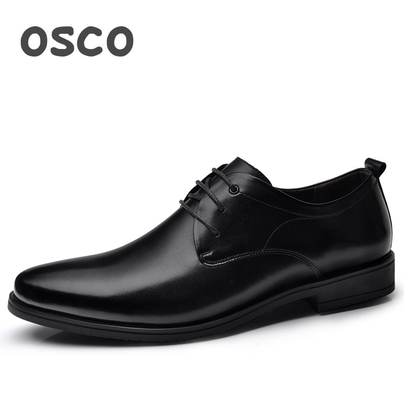 OSCO Genuine Leather Shoes Men Derby Shoes Pointed Toe Breathable Gentleman Men Shoes Dress Youth British Business Casual Shoes classic men s genuine leather shoes cowhide leather pig inner pointed toe derby dress wedding business shoes 2018 fashion