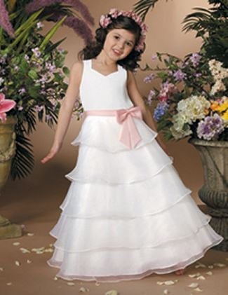 Long White  Flower Girls Dresses For Wedding Gowns Fashion  Girl Birthday Party Dress Ankle-Length  Kids Prom Dresses