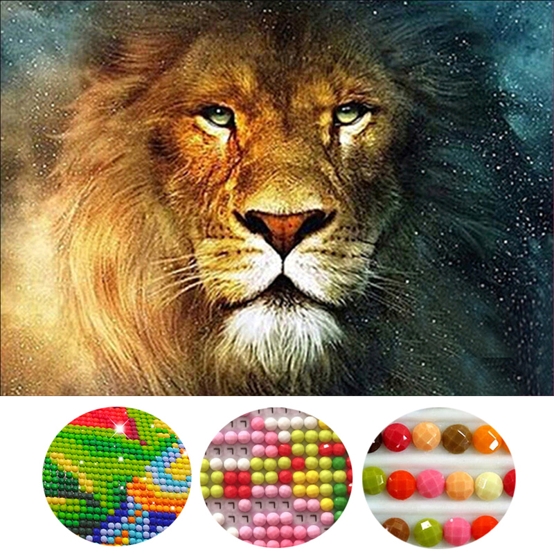 5D Diy diamond painting Male lion Round Diamond mosaic Painting Needlework Cross Stitch Kits Diamond Embroidery home decoration