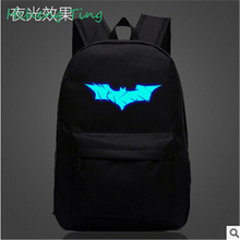 Man Emitting backpack female high school students travel bag schoolbag Glow Children bags Batman Superman backpack