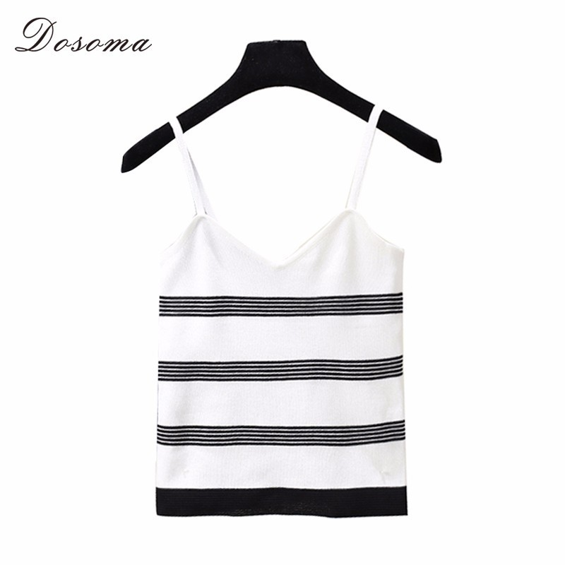 DOSOMA Knitted Tank Tops Women Camisole Summer Striped Sleeveless Top For Women 2018 Plus Size V Neck Sexy Short Tank Vestidos