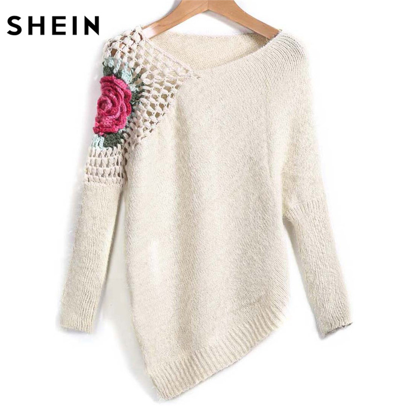 SHEIN Apricot Round Neck Floral Crochet Loose Sweater 2017 Fall Women New Sweaters Embroidery Asymmetrical Pullovers
