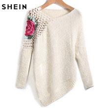 d7d11956c SHEIN Apricot Round Neck Floral Crochet Loose Sweater 2017 Fall Women New  Sweaters Embroidery Asymmetrical Pullovers