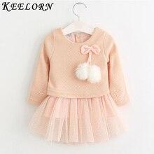 Keelorn/платье для маленьких девочек, новинка 2018 года, Повседневная осенняя одежда для малышей, клетчатое платье с длинными рукавами и рисунком медведя, платье из двух предметов, одежда для маленьких девочек