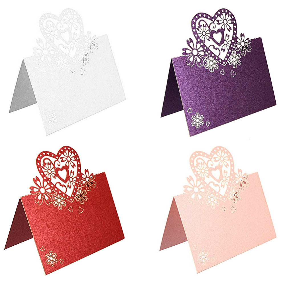 50pcs/Lot Love Heart Laser Cut Wedding Party Table Name Place Cards Favor Decor Wedding Decoration 4 Color 9x12cm 50pcs lovely shell place name cards wedding birthday party table setting decor