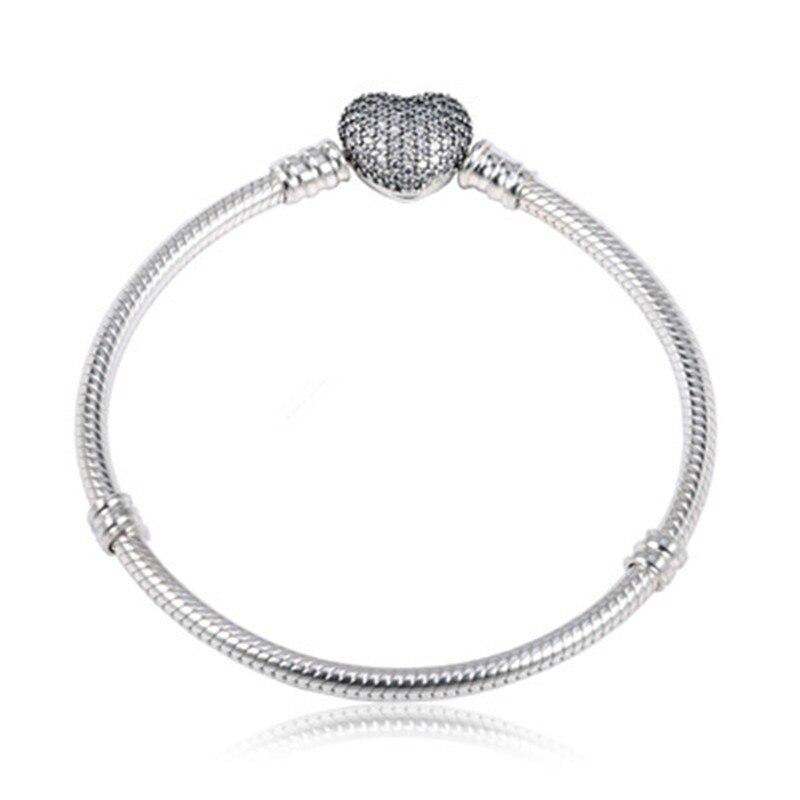 100% 925 en argent Sterling Rose or amour coeur bracelet cheville halhal Bracelet fit pendentif bracelets à faire soi-même en gros Mujer Pulseras