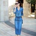 2017 Spring Autumn Women Denim Dress Vintage Long Sleeve After Split Lace-up Blue Long Jeans Dresses Plus Size L096