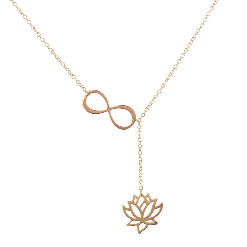 Shuangshuo 2017 Fashion Infinity Lotus Lariat Pendant Necklace for Women 18..
