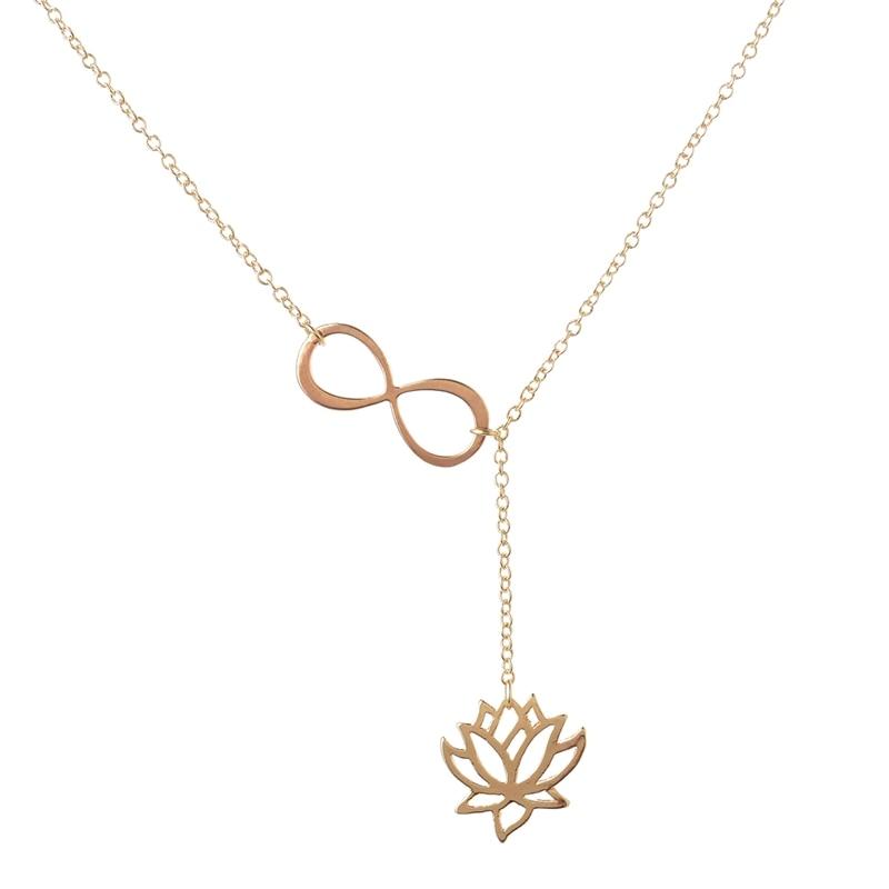 Shuangshuo 2017 Fashion Infinity Lotus Lariat Pendant Necklace for Women 18..