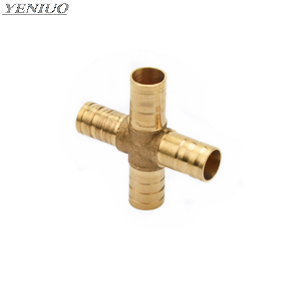 Cross Shaped Brass Pipe Fitting 4 Way 4mm-12mm Hose Barb Connector Joint Copper Barbed Coupler Adapter Coupling Pneumatic