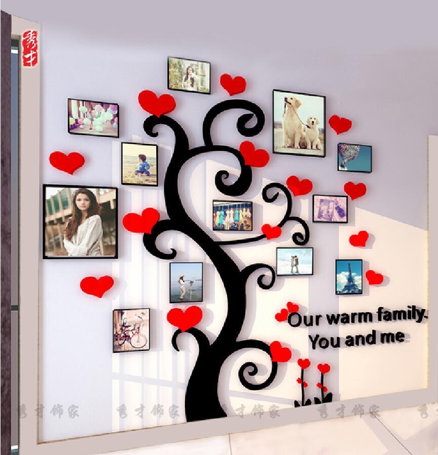 Akrylové stereo nástěnné samolepky Obývací pokoj Pohovka Fotografie Nástěnná ložnice Dekorativní samolepky Teplý rám Strom 3d Samolepky na zeď 5 barev