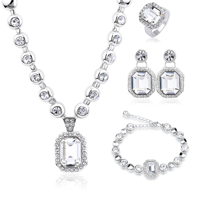 New Hot Set Genuine Crystals From Swarovski Luxury Necklace Bracelet Earrings Rings Jewelry Sets for Valentine
