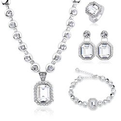 New Hot Set Genuine Crystals From Swarovski Luxury Necklace Bracelet Earrings Rings Jewelry Sets for Valentine's Day Gift