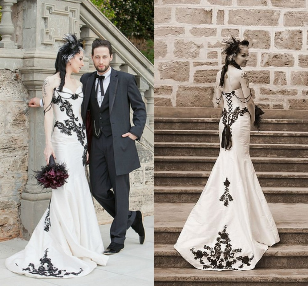 Popular Gothic Lace Black and White Wedding Dress-Buy Cheap Gothic ...