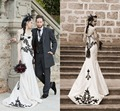 White and Black Lace Gothic Wedding Dress 2017 Vestidos de Novia Sweetheart Applique Corset Mermaid Bridal Wedding Gowns Dress