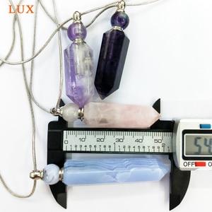 Image 5 - Натуральные Синие кружевные Агаты, аметисты, розовые кварцы, флюорит, подвеска в виде бутылочки парфюма, эфирное масло, кувшин, ожерелье