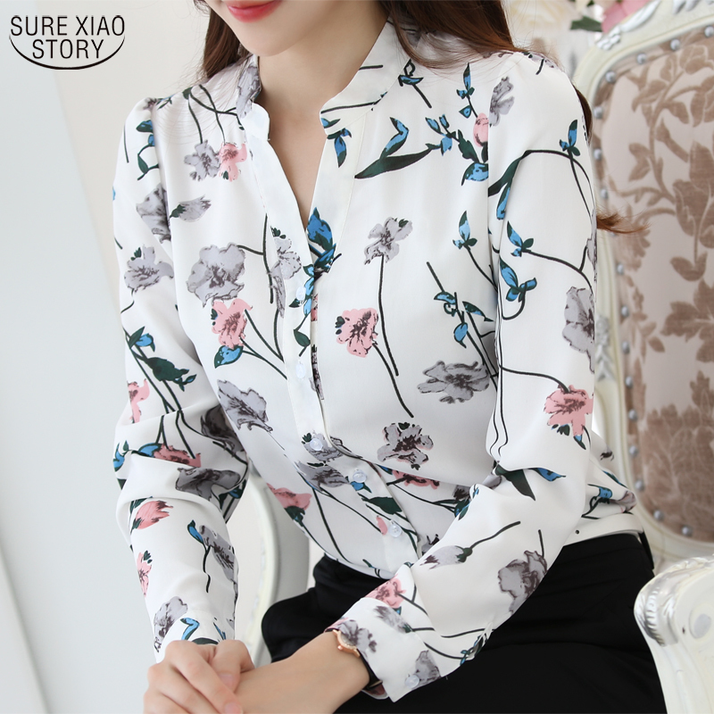 2017 New Fashion printed V- neck   shirt   plus size women Chiffon   Blouse     Shirt   Female Work Office Tops Blusas 882G