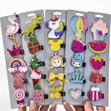 5 szt lot brokat kreskówka księżniczka spinki do włosów dziewczyny szpilki do włosów Toddler akcesoria Dropshipping tanie tanio Headwear PC168 Hairgrips Dzieci Moda Plastikowe Stałe