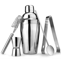 5pcs/set 550ML Shaker Set Ice Stainless Steel Clip Measure Cup Ice Filter Spoon Straw Drink Bartender Kit Bar Tool Kitchen Party