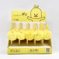 36 יח'\חבילה צהוב ברווז כדור קטיפה תליון ג 'ל עט חמוד Unicorn שחור דיו ניטראלי עט קידום מכירות מתנת ציוד לבית ספר נייר מכתבים