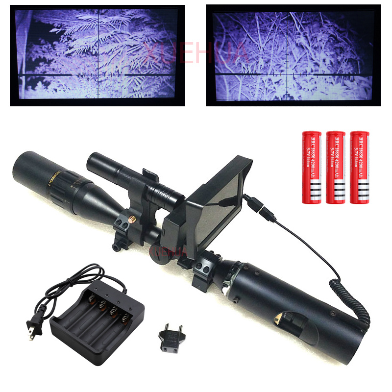 Hot New Sniper Outdoor Hunting Optics night vision Riflescope Tactical rifle scope with Battery Charger LCD and IR Flashlight compatible projector lamp for sanyo plc zm5000l plc wm5500l