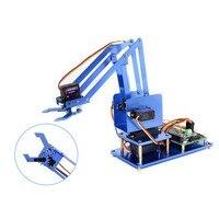 Waveshare 4-dof 라스베리 파이 블루투스/wifi 원격 제어를위한 금속 로봇 암 키트는 미국 플러그 전원 어댑터로 제공됩니다.