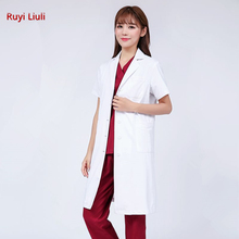 High-end Medical clothing women gown Lab coat White Clothes for doctors Summer and Spring