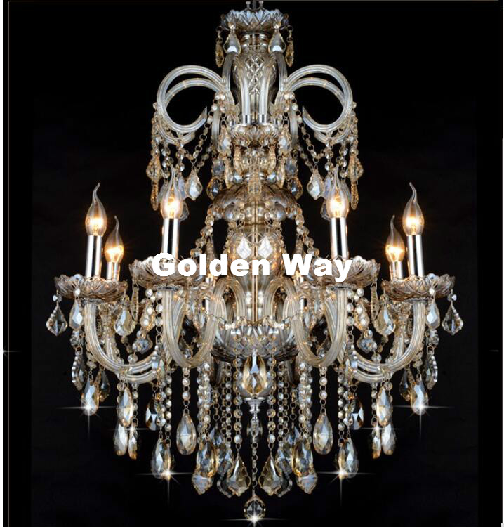 Cognac Color Chandelier Crystal Pendant Chandelier Lights Fixtures Hotel Crystal Lighting Lamp Staircase Long Chandelier Light