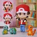 Novo Centro Pokémon Ash Ketchum Nendoroid Figura Mudança Rosto Vermelho com suporte