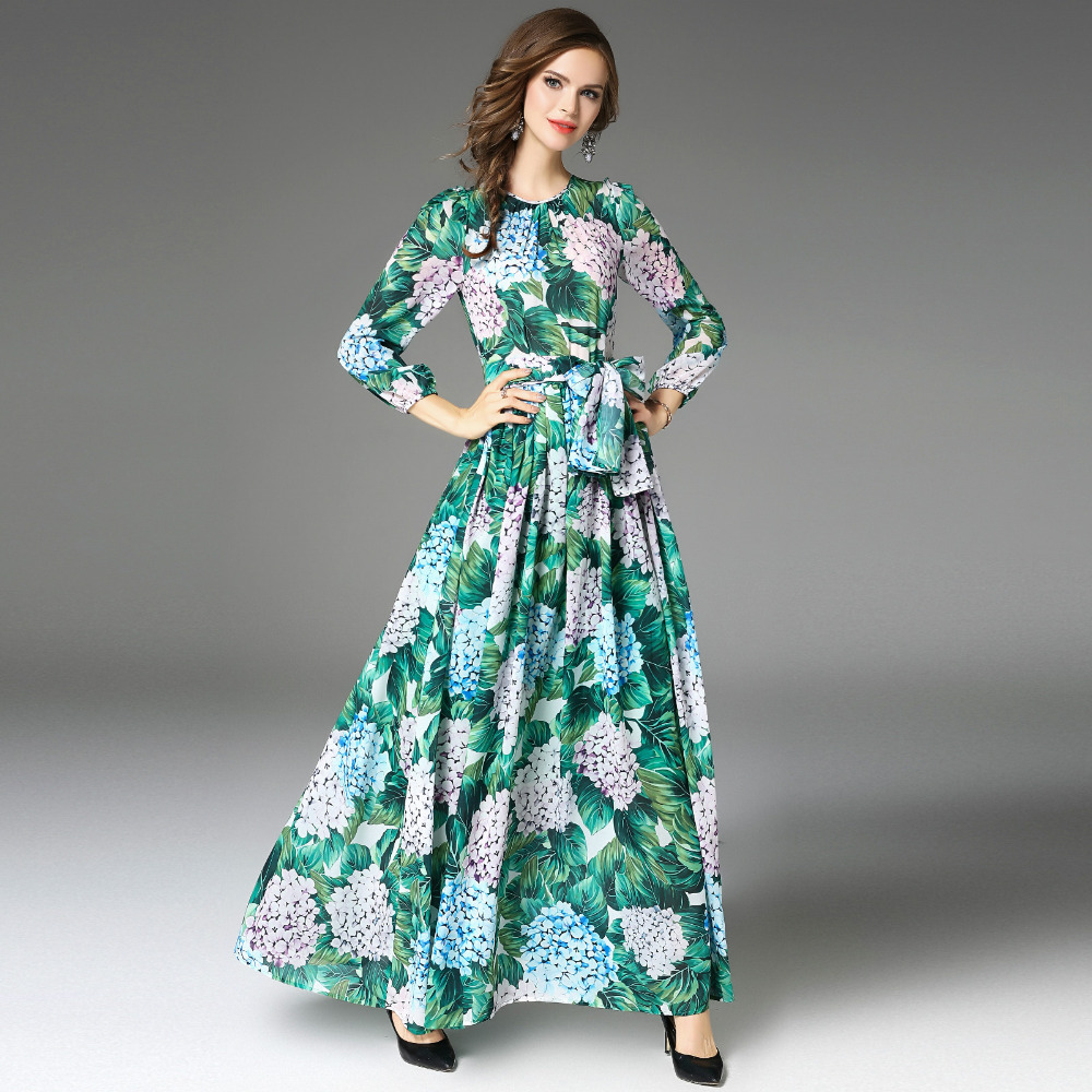 High Quality 2018 Autumn Runway Maxi Dress Women\'s Long Sleeve Floor ...
