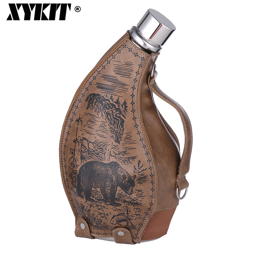 XYKIT 53oz Stainless Steel Big Hip Flask Drink Alcohol Whiskey Flasks Russian Hot Ox Horn Hip