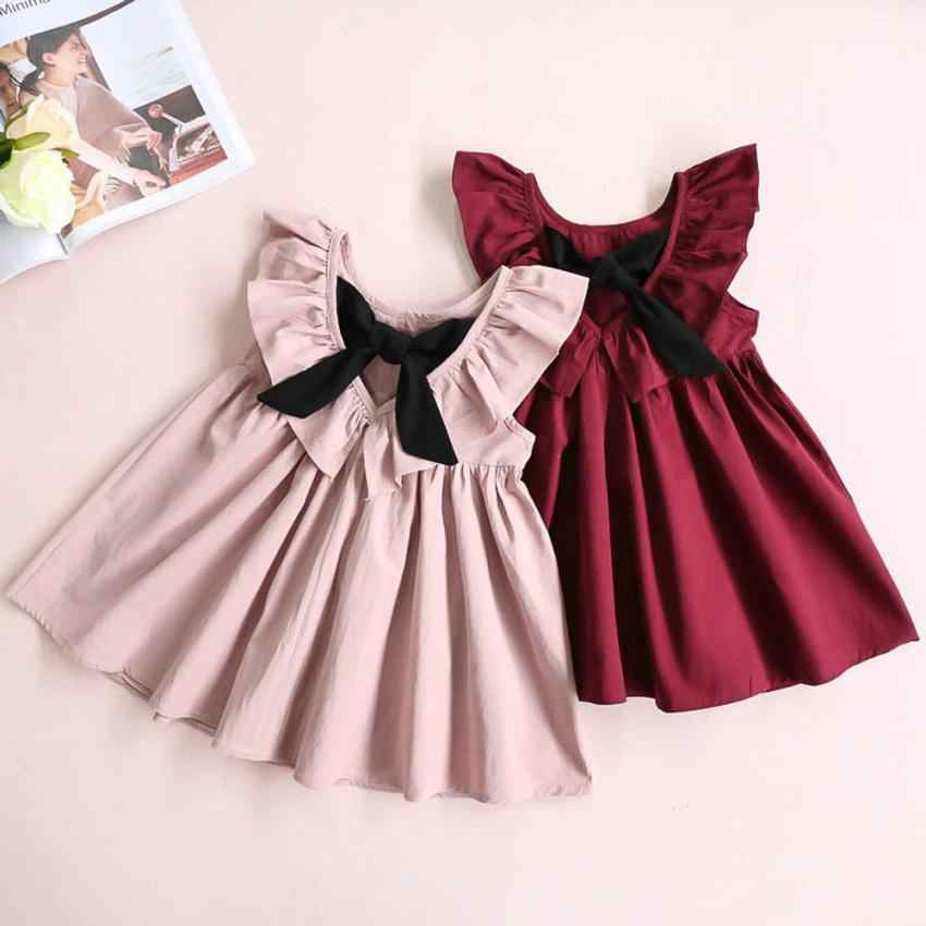 Preppy cute style Toddler Infant Kids Baby Girl Ruffled Dress Clothes Backless Solid Casual Dress ropa bebe elegant July31
